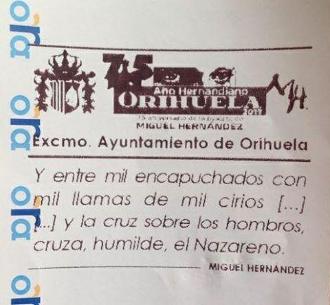 El ticket de la ORA tendrá un poema cada mes de Miguel Hernández